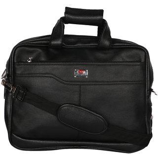 Zifana Men'S Black Artificial Leather Laptop Messenger Bag