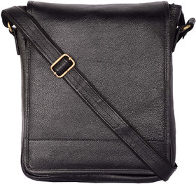 Zifana Unisex Black Leather Sling Bag For Modern Trend