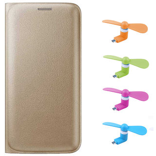 Snaptic Limited Edition Golden Leather Flip Cover for Reliance Jio LYF Wind 6 with OTG Mobile Fan