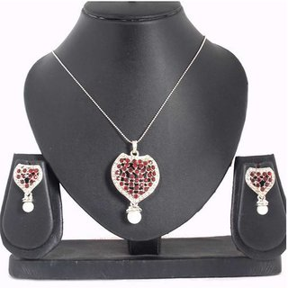 Kriaa by JewelMaze Zinc Alloy Silver Plated Red Austrian Stone Pendant Set-PAA0247
