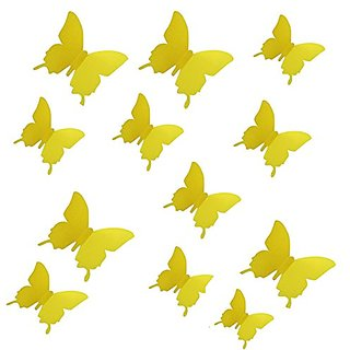 Futaba 3D Butterfly Adhesive Wall Decoration Stickers   12Pcs   Yellow
