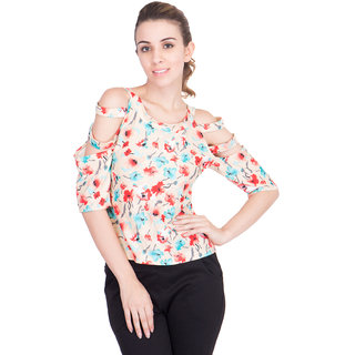 Khhalisi Yellow Printed Half Sleeve  Top