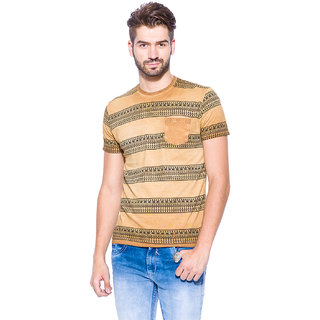 Mufti Beige Round Neck Half Sleeve Tshirt For men