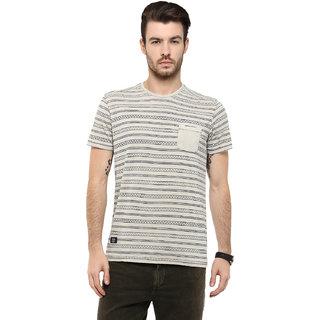 Mufti White Round Neck Half Sleeve Tshirt For men