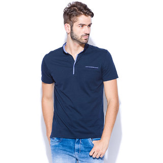 Mufti Blue Polo Neck Half Sleeve Tshirt For men