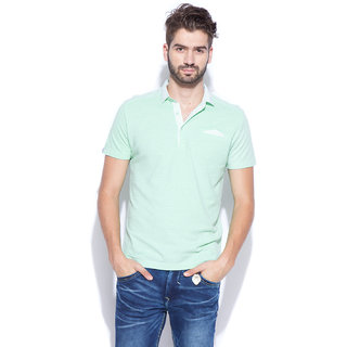 Mufti Green Polo Neck Half Sleeve Tshirt For men