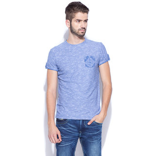 Mufti Blue Round Neck Half Sleeve Tshirt For men