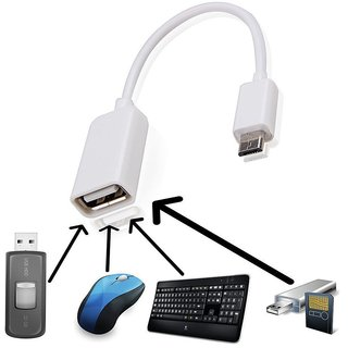 Celkon Campus A400   Compatible Fast White OTG CABLE By ANYTIME SHOPS
