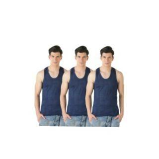 Dark blue cotton vests for men pack of 3