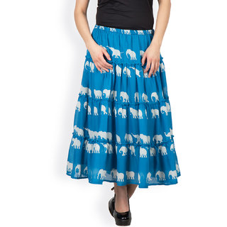 blue three tiered skirt by famous