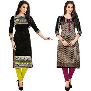 Jevi Prints - Combo of 2 Unstitched Printed Cotton Jacquard Kurti Materials (Fabrics only for Top)