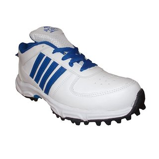 Port Mens Boom White Blue PU Cricket Shoes