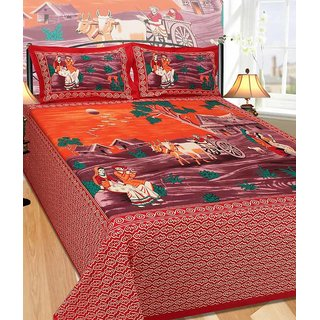 Akash Ganga Cotton Double Bedsheet With 2 Pillow Covers (Rajasthani09Z)