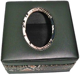 Zifana Black Faux Leather Square Tisse Box