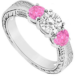 10K White Gold Pink Sapphire & Cubic Zirconia Three Stone Ring 0.50 CT TGW