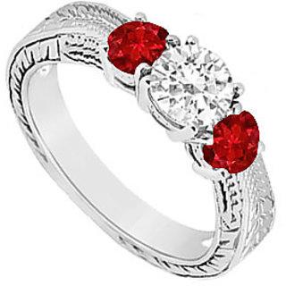 10K White Gold GF Bangkok Ruby And Cubic Zirconia Three Stone Ring 0.50 CT TGW