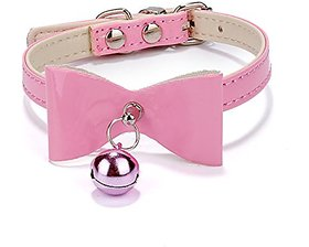 Futaba Leather Bowknot Necklace Puppy Collar Pink - 26 x 3 x 2.7 cm