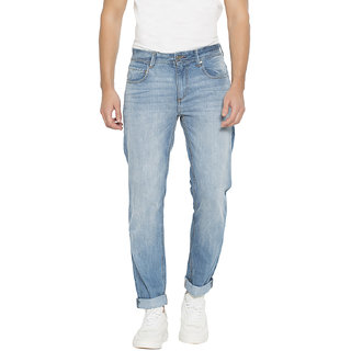 Springfield Men's Light Blue Tapered Fit Jeans