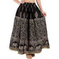 Long Skirt Cotton Fabric Ethnic Print Elastic Free Size Waist