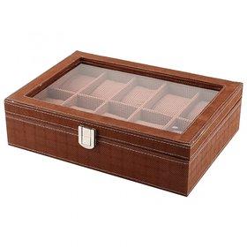 Anything Everything Watch Case Watch Box Watch Organizer - BROWN - 10 - WINDOW