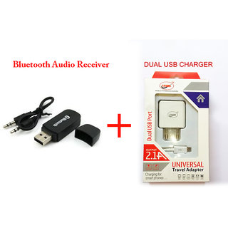 Combo Bluetooth Audio Receiver for  Music Systems  from Mobile +Dual Usb Charger
