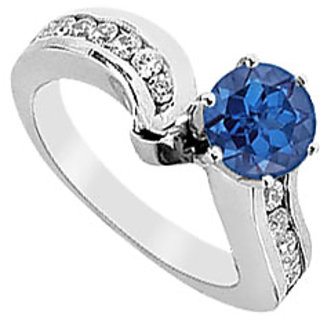 Diffuse Sapphire And Diamond Engagement Ring In 14K White Gold 1.50 CT TGW Option 6