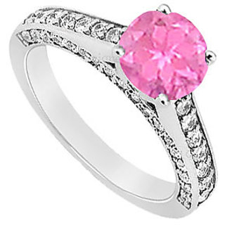 Sterling Silver Pink Sapphire & Cubic Zirconia Engagement Ring 1.25 CT TGW Option 2