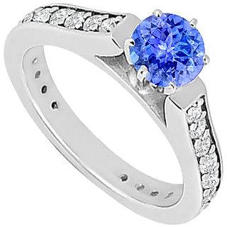 Tanzanite & Cubic Zirconia Engagement Ring .925 Sterling Silver 1.00 CT TGW