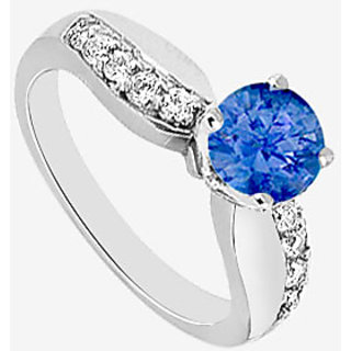 Natural Sapphire And Diamond Engagement Ring In 14K White Gold 0.75 Carat TGW