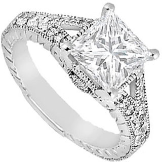 Semi Mount Engagement Ring In 14K White Gold With 0.25 CT Diamonds (Option - 8)
