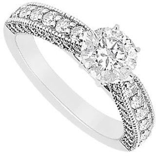 14K White Gold Semi Mount Engagement Ring With 0.50 Carat Diamonds (Option - 41)