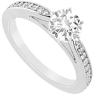 14K White Gold Semi Mount Engagement Ring With 0.25 Carat Diamonds (Option - 17)