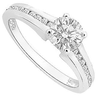 14K White Gold Semi Mount Engagement Ring With 0.50 Carat Diamonds (Option - 44)