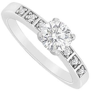 14K White Gold Semi Mount Engagement Ring With 0.10 Carat Diamonds (Option - 2)