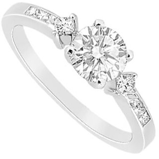 14K White Gold Semi Mount Engagement Ring 0.25 Ct. Princess Diamonds