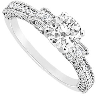 14K White Gold Semi Mount Engagement Ring With 0.50 Carat Diamonds (Option - 38)