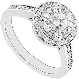 Halo Semi Mount Engagement Ring In 14K White Gold 0.30 CT Diamonds (Option - 2)