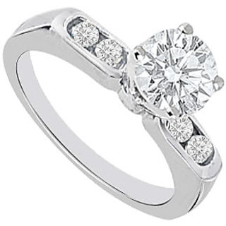 Semi Mount Engagement Ring In 14K White Gold With 0.16 CT Diamonds