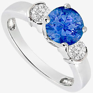 14K White Gold Engagement Ring With Diffuse Sapphire And CZ 1.20 Carat TGW