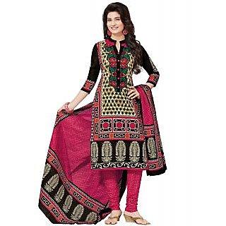 Jevi Prints Multicolor & Pink Unstitched Cotton Printed Salwar Suit Dupatta Material