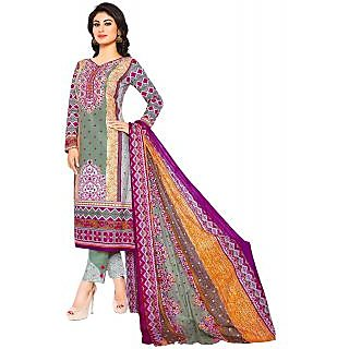 Jevi Prints Grey & Pink Unstitched Karachi Lawn Cotton Printed Salwar Suit with Dupatta