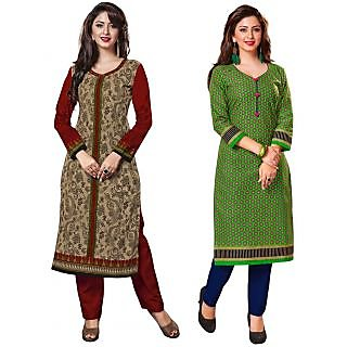 Jevi Prints - Pack of 2 Unstitched Cotton Printed Kurti Fabrics