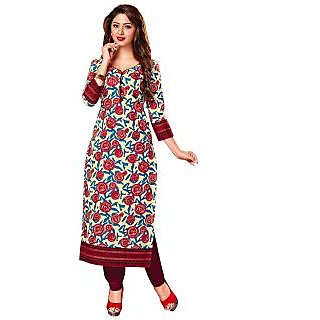 Jevi Prints Beige & Red Unstitched Cotton Printed Kurti Material