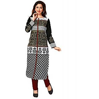 Jevi Prints Black & White Unstitched Cotton Printed Kurti Material