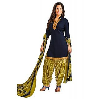Jevi Prints Blue & Brown Unstitched Synthetic Crepe Punjabi Suit Dupatta with Mangalgiri Border