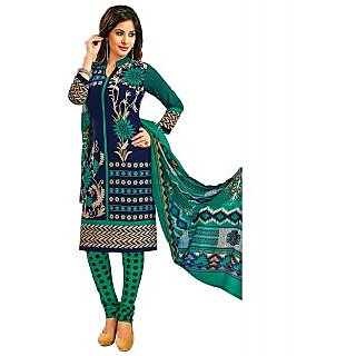 Jevi Prints Blue & Green Unstitched Synthetic Crepe Printed Salwar Suit with Dupatta