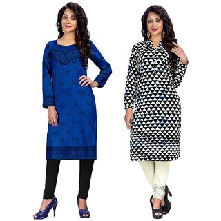 Jevi Prints - Combo of 2 Unstitched Cotton Printed Kurti Materials (Fabrics only for Top)