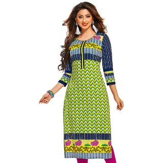 Jevi Prints Lime Green & Blue Unstitched Cotton Printed Kurti Fabric
