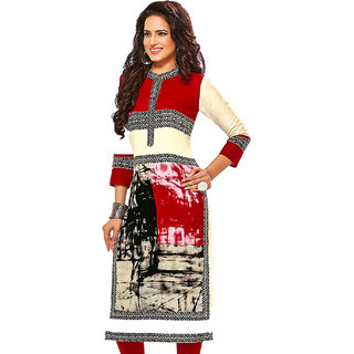 Jevi Prints Red & Beige Unstitched Cotton Printed Kurti Fabric