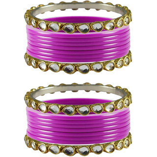 Vidhya kangan Crystal Pink Color Bangles for Women-ban4049